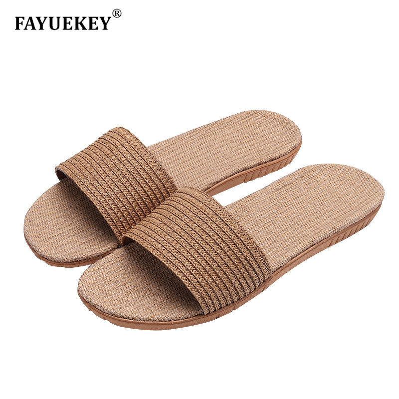 FAYUEKEY 2019 Summer Men Linen Flax Home Slippers Floor Beach Outdoor Flip Flops Breathable Non-slip Slides Sandals Flat Shoes