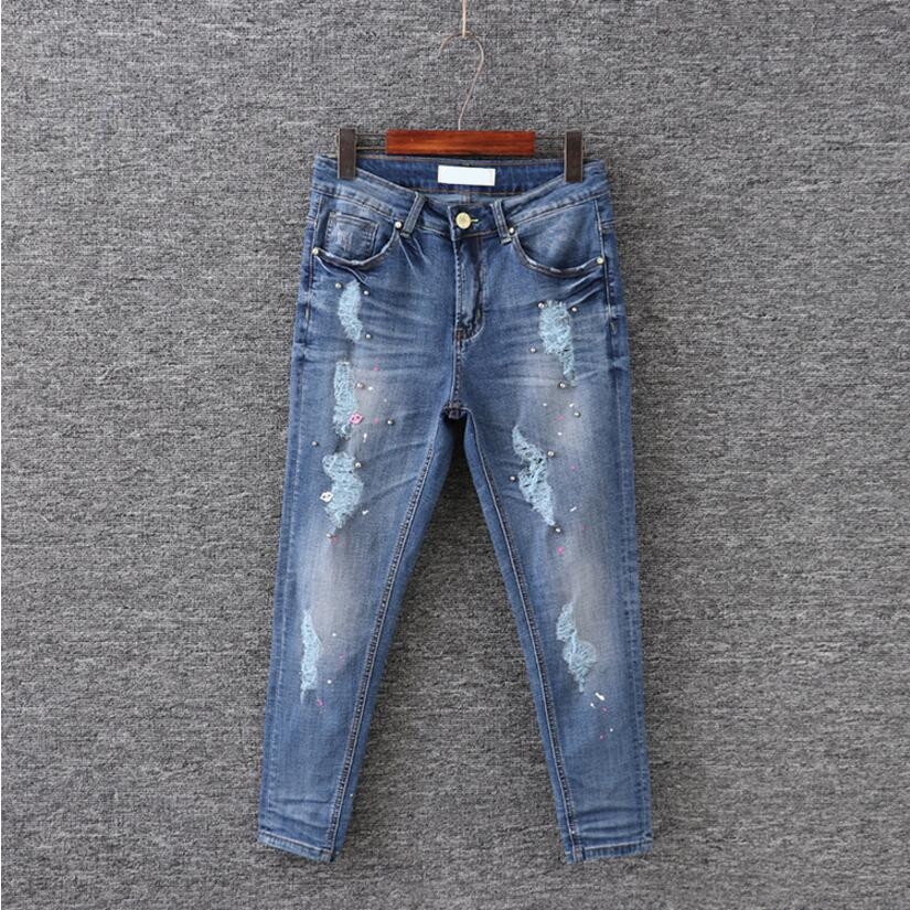30-42 Women Ripped jeans Plus Sizes High Waist Slim Hip Ankle-length Pants Beading jeans Thin Casual Hole Denim Trousers Pencil