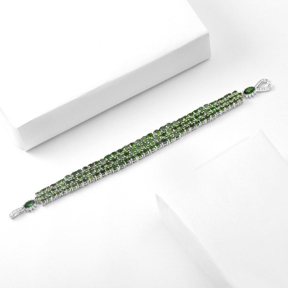 GEM'S balet 29.25Ct naturalne Chrome Diopside czysta 925 Sterling Silver kamień zielony Chain Link bransoletki dla kobiet w porządku biżuteria w Bransoletki i obręcze od Biżuteria i akcesoria na  Grupa 2