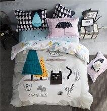Simple Nordic Style Bedding Set Cartoon Black Cat 100% Cotton Bed Linen Include Sheet Pillowcase & Duvet Cover Sets Twin Queen