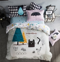 Simple Nordic Style Bedding Set Cartoon Black Cat 100% Cotton Bed Linen Include Sheet Pillowcase & Duvet Cover Sets Twin Queen