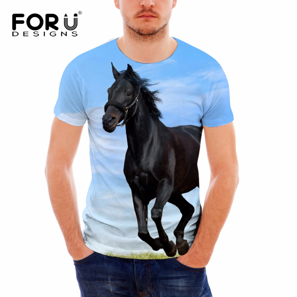 c5068935 FORUDESIGNS 3D Crazy Horse Printing T Shirt Men Groot O-Neck Summer Tops  for Teenagers Males Fashion Short Sleeve Couple Tees