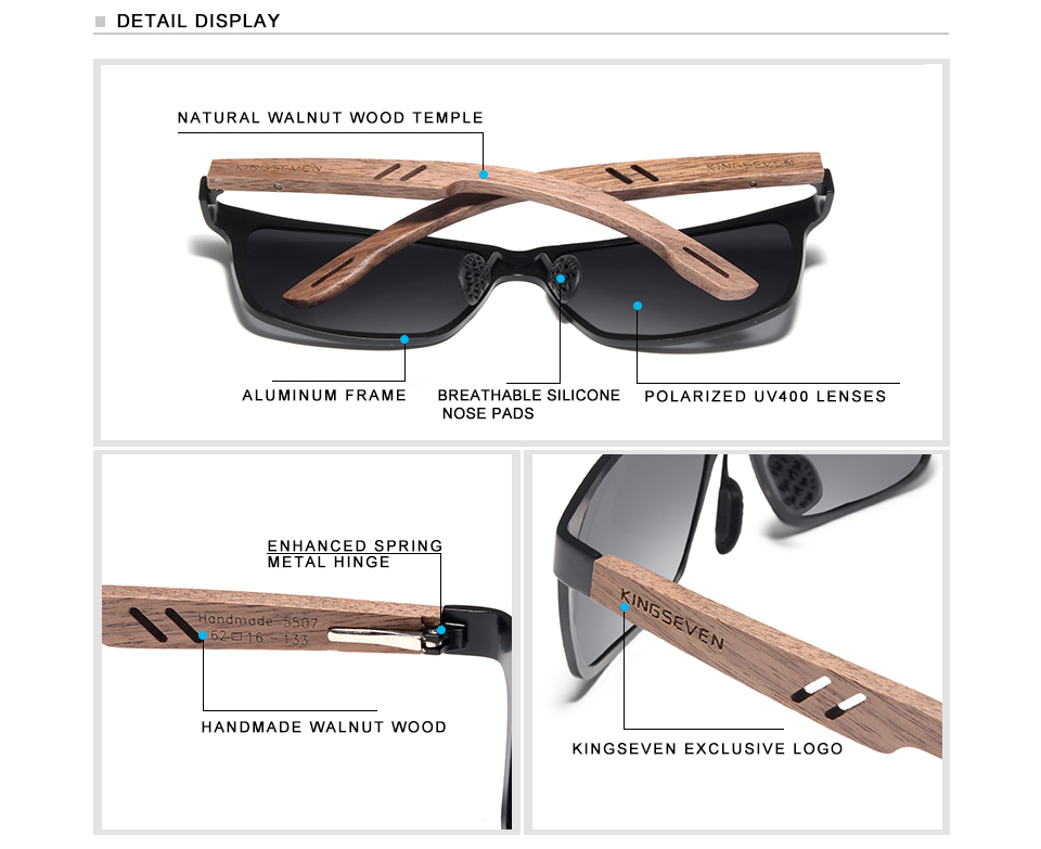 KINGSEVEN Brand New Design Aluminum+Walnut Wooden Handmade Sunglasses Men Polarized Eyewear Accessories Sun Glasses For Women