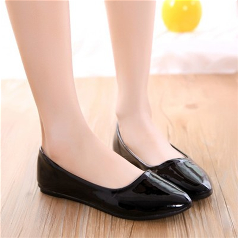 2018 Women Fashion Spring Ladies Pointed Toe Flat Ballet Patent Leather  Shallow Shoes Loafers Slip On Casual Shoes brand fedimiro spring oxford shoes women patent leather pointed toe slip on flat loafers casual metal buckles ladies flats