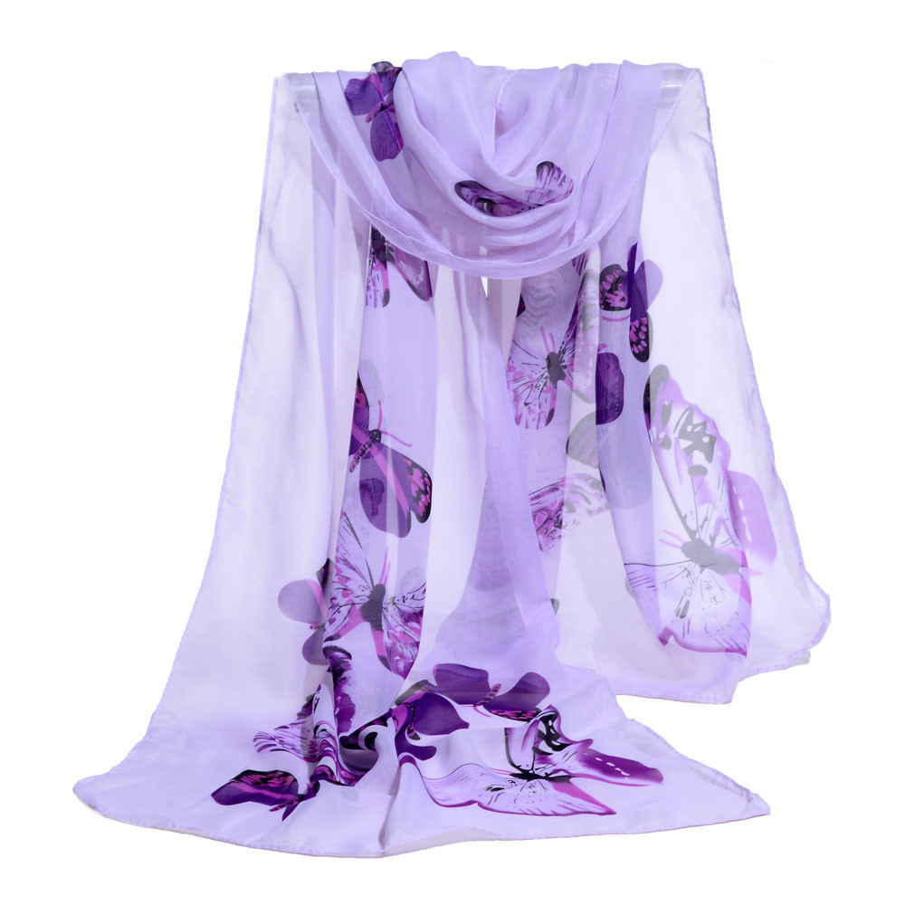 Popular Style Women Ladies Chiffon Floral   Scarf   Soft   Wrap   Long Shawl High Quality Breathable Shawl   Scarves   Fantastic Foulards #T