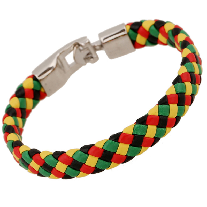 Womens Black Red Yellow Green Leather Braided Bracelet