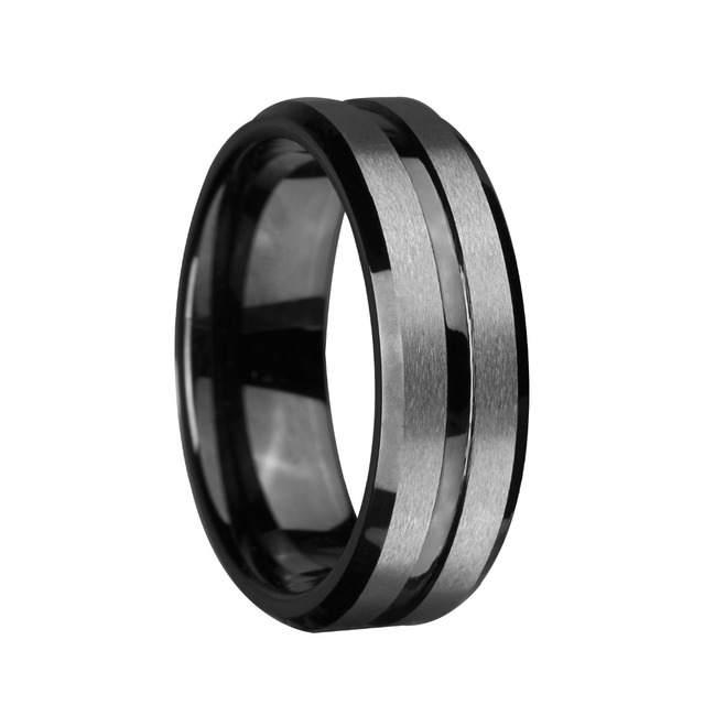 8mm Tungsten Carbide Ring Black Silvering Brushed Stripe Wedding Bands Infinity Men S Jewelry