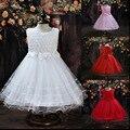 2015 Novo Vestido de Menina Crianças Malha Roupas de Verão Infantis Vestidos Para Meninas de Flor Crianças Princesa Branco Vestidos de Festa Vestido