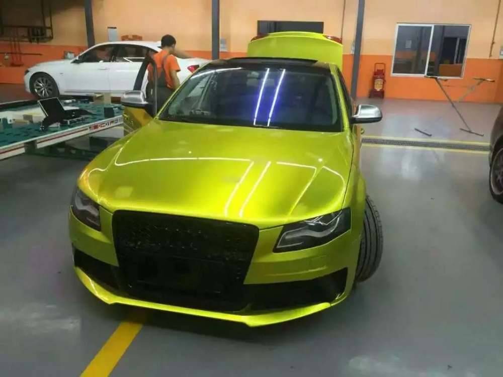 Gloss Metallic Electric Lime Car Wrap VINYL Styling With Air Free Full Car Covering Graphics PROTWRAPS 1.52x20m/Roll 5x67ft