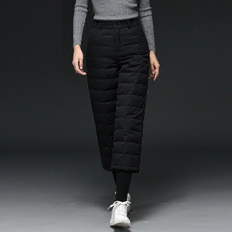 Pantalones Mujeres Elegante Ancha Grueso Cintura Blanco 2018 Pato Caliente gris Ab120 Lana Abajo Invierno Calidad Pierna Alta Negro XgXwxY