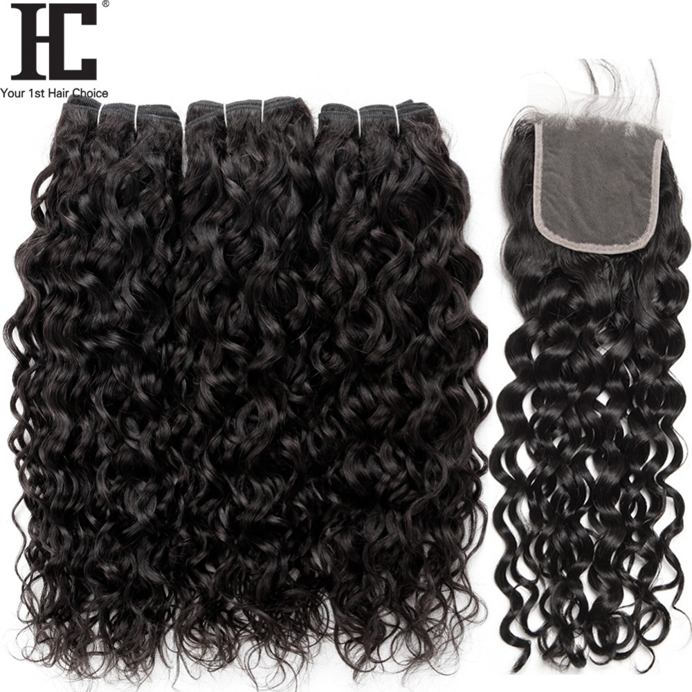 HC Brazilian Water Wave Bundles With Closure 4 Pcs Lot Brazilian Hair Weave Wet And Wavy