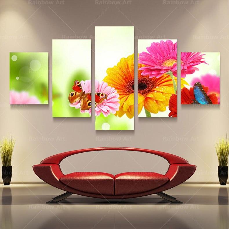5 panel moderno impreso mariposa flor paisaje cuadro pintura cuadros ...