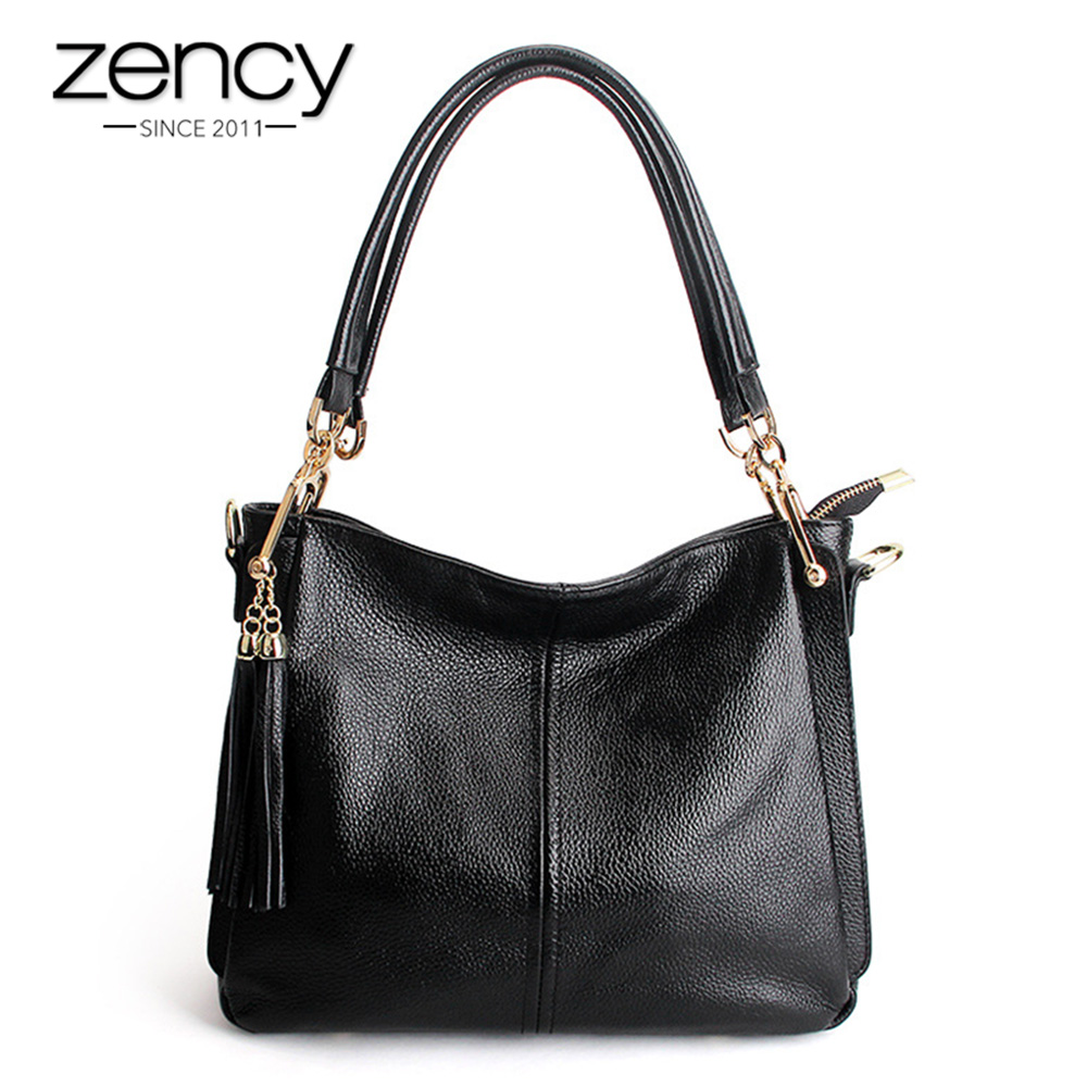 Zency кисточкой для женщин сумка 100% пояса из натуральной кожи Сумочка Элегантный сумки через плечо дамы кошелек вместительные сумк