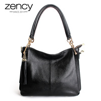 Zency Tassel Women Shoulder Bag 100% Genuine Leather Handbag Elegant Crossbody Bags Ladies Messenger Purse Hobos Grey Black