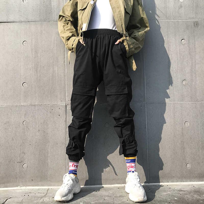 Weekeep женские брюки-карго с карманами в стиле пэчворк черные хлопковые брюки с высокой талией женские модные уличные брюки-карандаш с эластичной талией