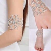 2019 Hot Silver Color Crystal Bracelets For Women Bridal Floral Ankle Bracelets Bangles Ornament Adjustable Bracelet Bijoux Gift