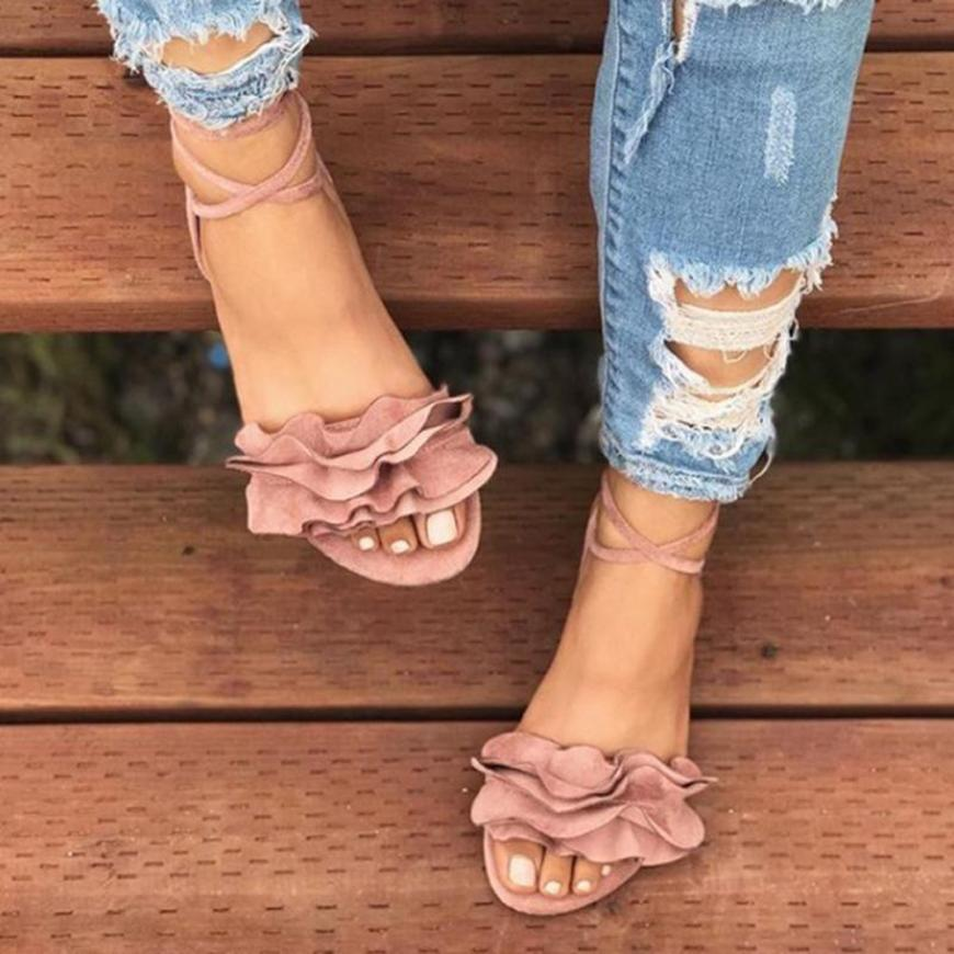 HTB13TF.bcrrK1RjSspaq6AREXXac - Women Shoes Sandals Women Solid Color Ruffles Round Toe Flat Heel Cross Tied Sandals Rome Shoes Sandals summer