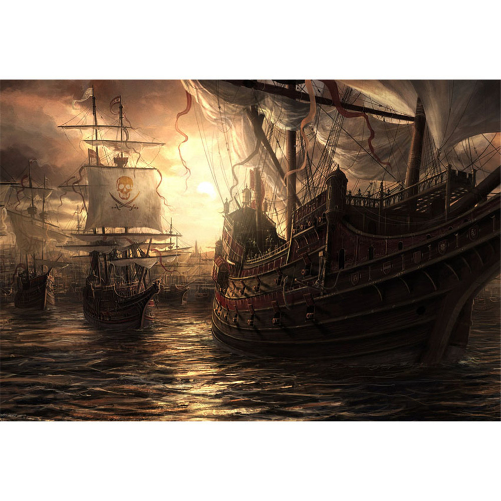 Pirate ships ocean kids stage photography backgrounds nightfall sunset scenery children birthday - Pirate background ...