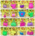 10pcs Babie doll bag casual handbag dolls accessories plastic toy pretend play mixed style fashion purse roll playing Children