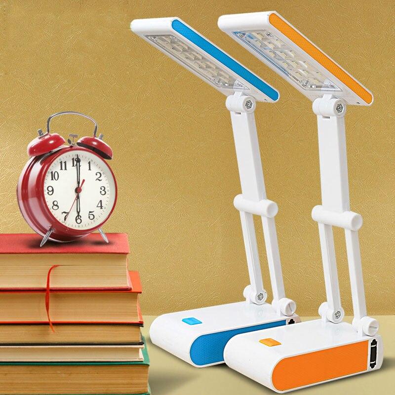 Duration power étudiants mini lecture lampes de bureau 400 mah batterie pliant rechargeable 14 led dimmable lampes de table réglable lampes