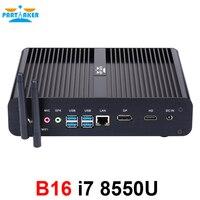 Partaker Fanless Mini Computer i7 8550U i5 8250U i3 8145U 2*DDR4 Msata+M.2 SSD Micro PC Win10 Pro Barebone HTPC Nuc VGA HDMI