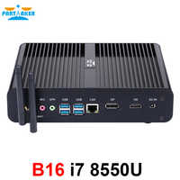 Partícipe sin ventilador Mini computadora i7 8550U/7560U i5 8250U/7260U 2 * DDR4 Msata + M.2 SSD Micro PC Win10 Pro Barebone HTPC Nuc VGA HDMI