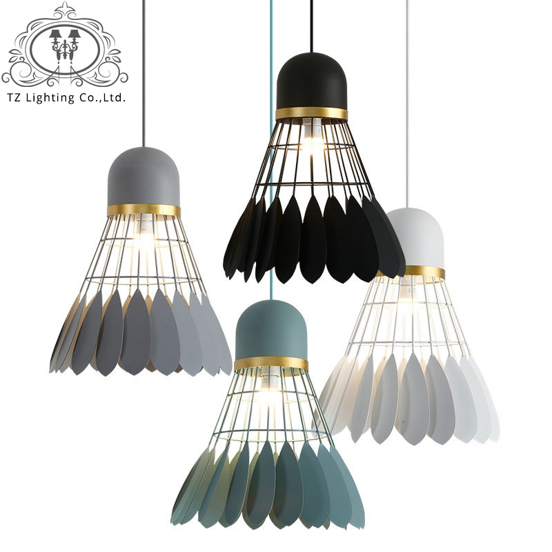 TZ Nordic Creative Badminton Pendant Lamps Iron Pendant Lights For Living Room Bedroom kitchen Home Lighting hanglamp creative iron triangle pendant lights personality bar living room bedroom clothing store lighting pendant lamps za fg328