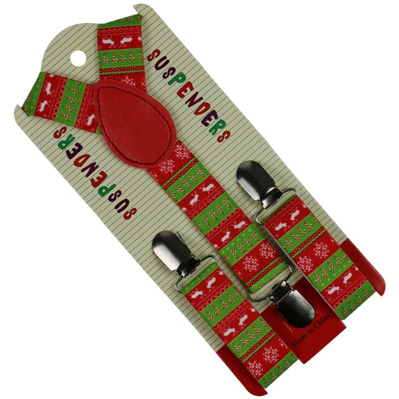 Winfox Kids Boys Girls Children Suspenders Christmas Tree Deer Y-Back Clip-on Adjustable Elastic Braces Suspenders