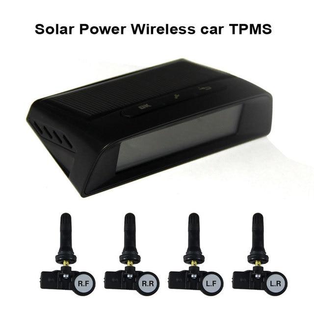 Solar Power Wireless автомобилей TPMS контроля давления в шинах система с 4 Встроенными крышки датчиков 433.92Mzh
