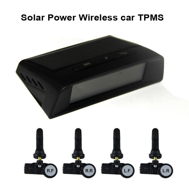 Солнечный Мощность Беспроводной автомобилей TPMS шин Система контроля давления с 4 Внутренняя крышка датчики 433.92mzh