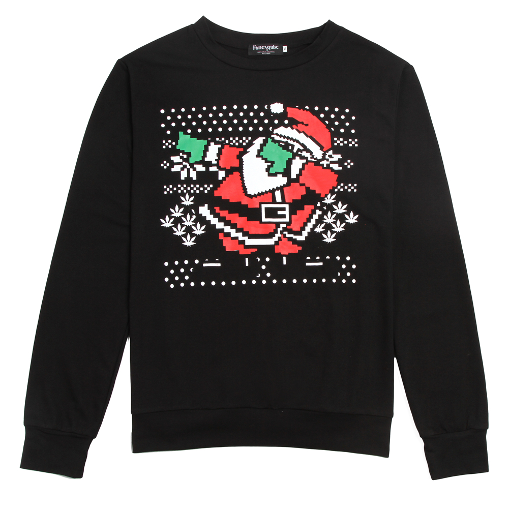 2017 New Year Men's Black Santa Printed Sweatshirt Snow Image Christmas Hoodies Pullovers Casual O-neck Tops