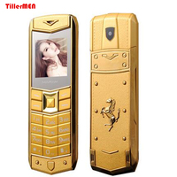 Luxury Metal Body Car Russian Arabic Spanish French Vibration Logo Dual Sim Mobile Phone With Leather