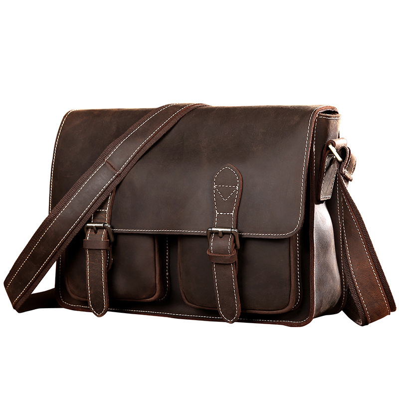 Brand Hand-made Genuine Crazy Horse Leather Business Briefcase Men's Cross Body Shoulder Bag Male Cowhide Messenger Bag