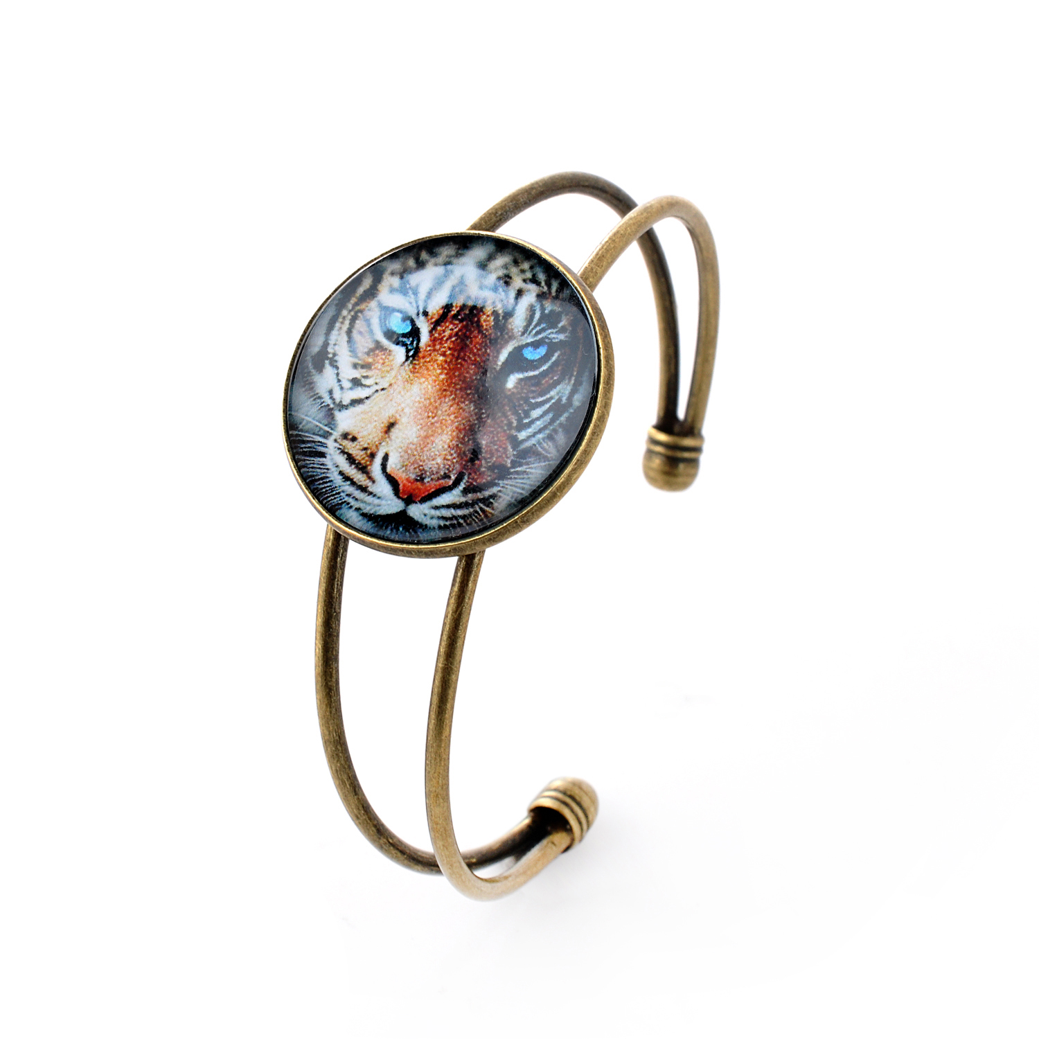 Lureme Simple Jewelry Time Gem Series Animals Tigers Disc Charm Open Bangle Bracelet for Women and Girl (06002686)