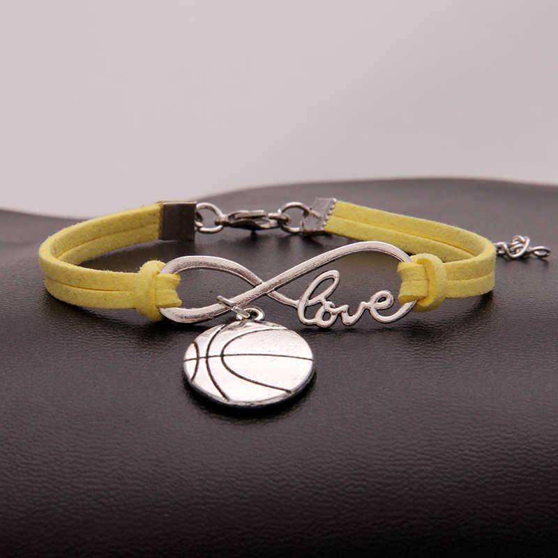 NCRHGL 無限の愛バスケットボールブレスレット腕輪バスケットボールチャーム Pu レザー編組ブレスレットレディースメンズジュエリーについてドロップ船