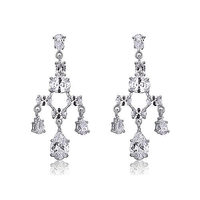 Bridal Wedding Pageant Chandelier CZ Simulated Diamond Dangle Earrings CSE590