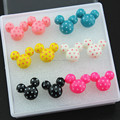 Cute 6 Pairs Mixed Color Cartoon Plastic Polka Dots Minnie Mouse Stud Earrings For Girl Women's Christmas Gift ME167