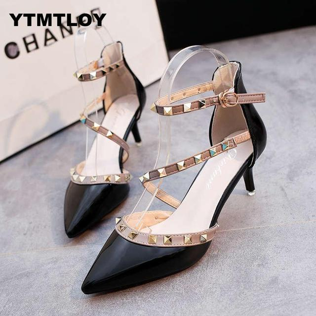 Pumps 2019 Women's Shoes Summer Fashion Female Sandals Rivet Metal Decoration Pu Leather Style Women High Heels Zapatos De Mujer