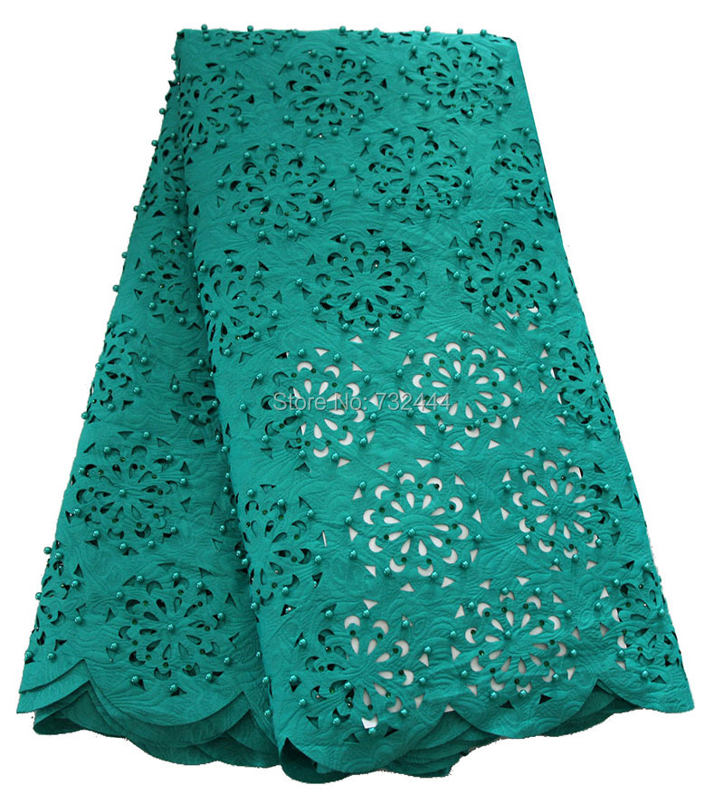 Hollow out design beaded teal green african lace fabric laser cut nigerian lace fabrics high quality for wedding dress 2017