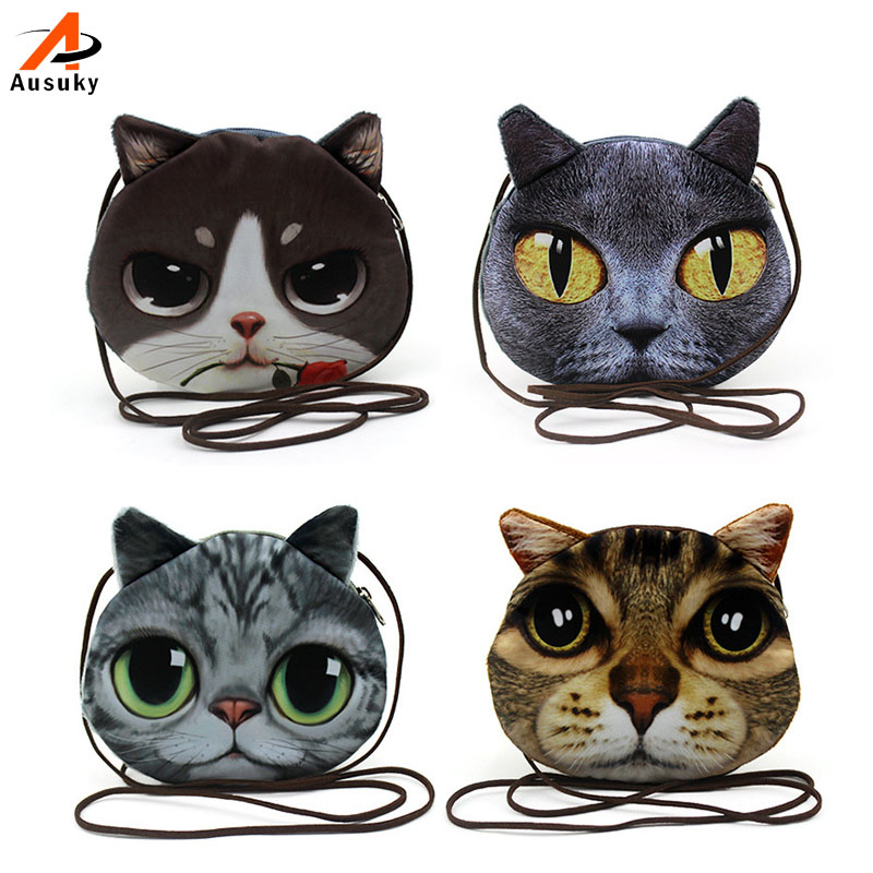 3D søde Kitty Plush Coin Punge til Childern Cat / Dogs Dyr mønster Kids Wallet Ladies Mini Wallet Porte Monnaie Homme # 45