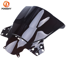 POSSBAY Black/Grey/Clear Motorcycle Windscreen Windshield Double Bubble for Honda CBR250R 2011 2012 2013 Bike Scooter