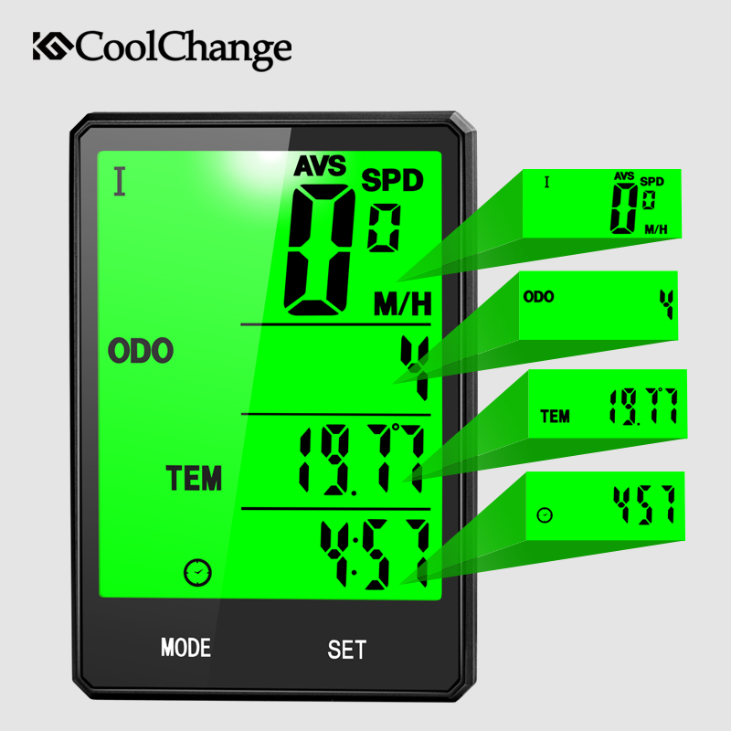 CoolChange Wireless Bike Computer Speedometer Odometer Rainproof Cycling Bicycle Computer Bike Measurable Temperature Stopwatch in Bicycle Computer from Sports Entertainment