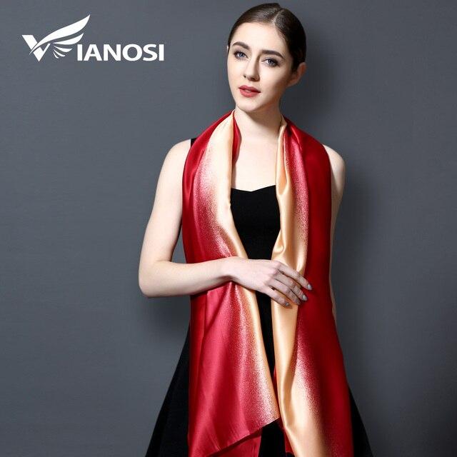 [VIANOSI] 2017 бренд бандана градиент цвета шелковый шарф Для женщин Роскошные хиджаб платок длинный Шарфы для женщин модные летние шарф va108