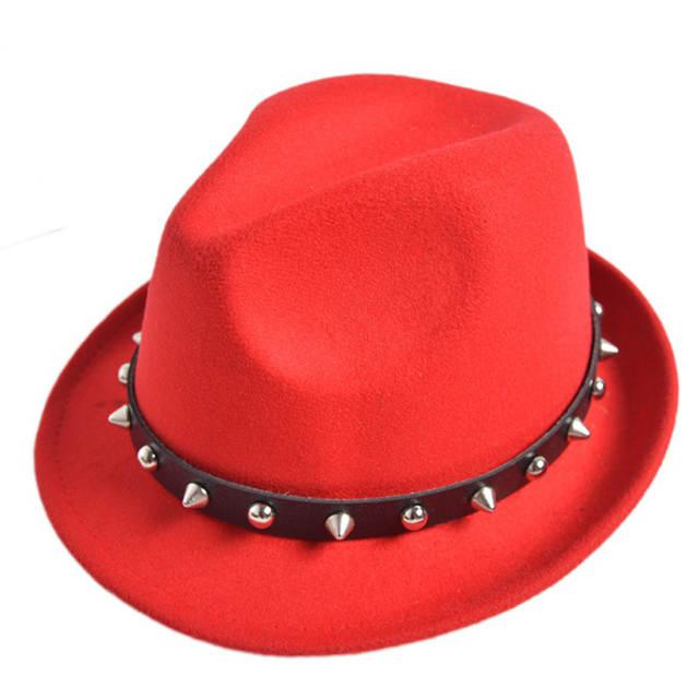 f421f15b Unisex wool felt hat cap jazz Fedora Hats with Rivet Stingy Brim Dance  Perform Caps panama trilby chapeau for men women-in Fedoras from Apparel  Accessories ...