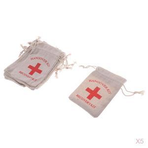 Image 5 - 50 복구 숙취 키트 가방 암탉 파티 응급 처치 가방 모슬린 호의 가방 13x9 cm