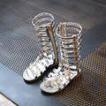 Девушки Принцесса Сандалии 2017 Новый Летний Дети Высокая Рим Обувь Заклепки Сандалии Вырез Обувь Для Девочки Zip Гладиатор Sandalies