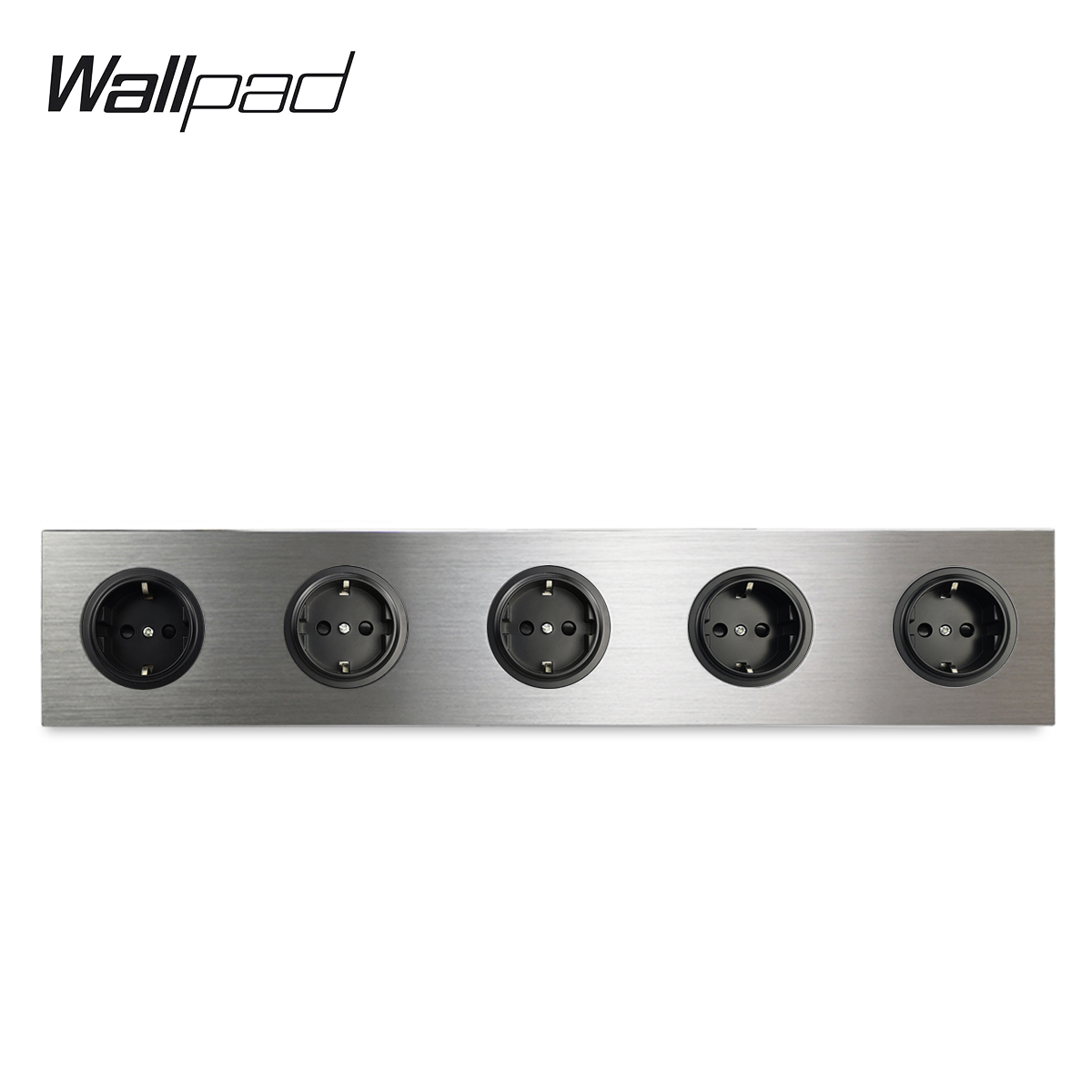 Wallpad 5 Gang Frame Quintuple EU Wall Electric Outlet Socket German Plug Silver Satin Brushed Aluminum Alloy Panel  430 * 86 mm