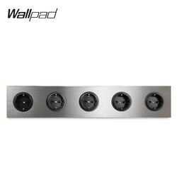 Wallpad 5 gang frame quintuple ue tomada de parede elétrica alemão plugue prata cetim escovado painel liga alumínio 430*86mm