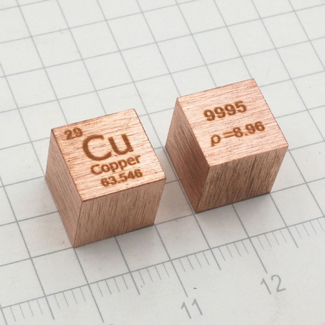 10mm (Cu≥99.9%) Wiredrawing Copper Cube Periodic Table Of Elements Cube Cu Hand Made DIY Crafts Display Educational