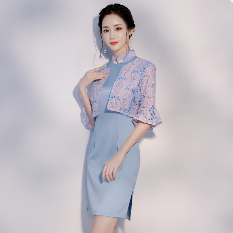 Audacious New Style High Fashion Silk Satin Cheongsam Chinese Classic Womens Qipao Elegant Half Sleeve Novelty Short Dress Gusj-8131 Traditional Chinese Clothing Novelty & Special Use